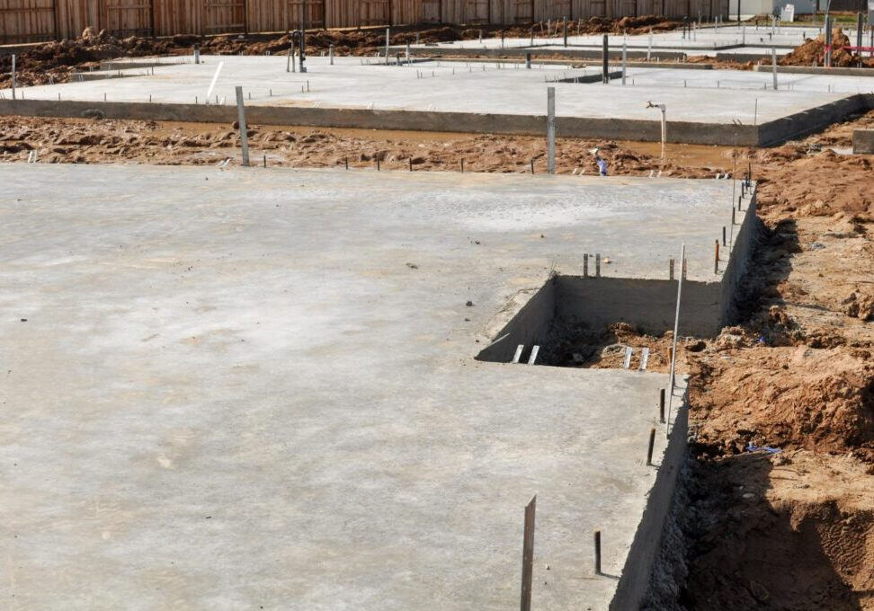 a newly dry concrete foundation